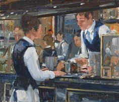 Nick Botting (British) 'The Coffee Makers, The Wolseley' Paintings I Love, Beautiful Paintings, The Wolseley, Inside Art, Urban Painting, Urban Life, Day Work, Art Studies, Cafe Restaurant