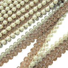 Beaded Trim Sewing Supply 1.7 Cm Wide Braided Edgings White Saree Border Indian By The Yard RT1021