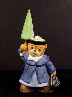 Lucy & Me Bear Beary Poppins Umbrella 1990 Figurine Enesco Collectible Character #Enesco