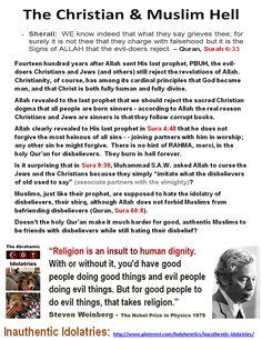 "Revelations versus Reason:  https://www.pinterest.com/pin/540924605223882256/ Doesn't the holy Qur'an make it much harder for good, authentic Muslims to be friends with disbelievers while still hating their disbelief? ""The most detestable wickedness, the most horrid cruelties, and the greatest miseries, that have afflicted the human race, have had their origin in this thing called revelation, or revealed religion."" -- Thomas Paine https://www.pinterest.com/pin/540924605223912364/"