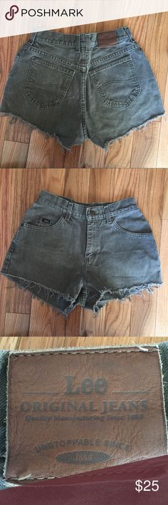 V I N T A G E green high wasted lee shorts I am selling these V I N T A G E green high wasted lee shorts! Size 2/4! There are no holes, stains, or flaws! Lee Shorts