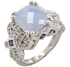 Generations 1912 Blue Chalcedony, Blue & White Sappphire Sterling Silver & Rhodium Plate Ring