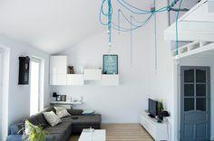 Mateusz' bright open apartment, with mezzanine bed level Mezzanine Bed, Ikea I, Home Id, Interior Architecture, Interior Design, Lamp Cord, Interior Inspiration, Sweet Home, Gallery Wall