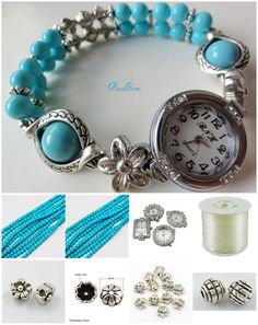 DIY Watch Bracelets~ | Daisy Beaded Jewelry Diy Jewelry Projects, Jewelry Crafts, Jewelry Ideas, Pretty Necklaces, How To Make Necklaces, Diy Schmuck, Schmuck Design, Beaded Watches, Jewelry Watches
