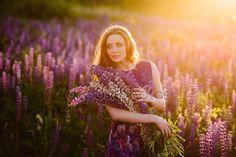 Скачать - Девушка в поле фиолетовый флора, закат на Солнечный день — стоковое изображение #103289996