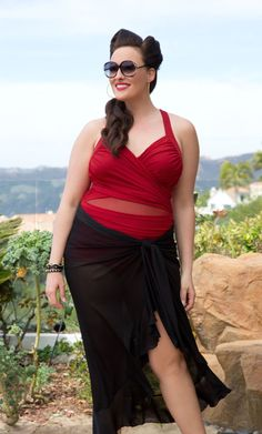 The perfect combination for poolside glamour is our plus size Sand and Glam Illusion Swimsuit and Giselle Ruffle Sarong.  www.kiyonna.com  #KiyonnaPlusYou  #Plussize  #MadeintheUSA  #Kiyonna