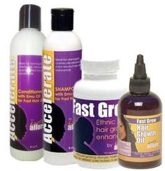 Fast Grow Black Hair Growth Vitamins, Shampoo, Conditioner and Fast Hair Growth Oil for Faster Growing Hair by Exotic Allure. $69.99. Restores a healthy, vibrant shine to dull, damaged hair. Helps to reduce shedding and breakage. Scientifically formulated for Black, African hair. Perfect for relaxed hair, natural hair, or dry hair. Helps turn breaking, damaged hair into LONG, SEXY hair!. Get the best price on the Exotic Allure hair growth program - buy as a set! Inclu...