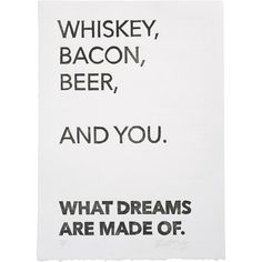The Matt Butler 'Whiskey, Bacon, Beer and You' Wall Art ($17) ❤ liked on Polyvore featuring home, home decor, wall art, black, handmade home decor, black wall art and black home decor