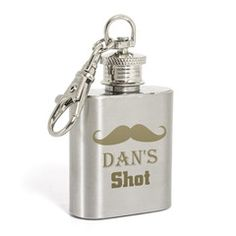 Personalised Moustache 1oz Hip Flask Keyring Gift | Vivabop - Let your Best Man keep a little shot of something to calm his nerves on your wedding day with this gift. - www.vivabop.co.uk #bestmangifts
