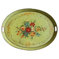 Check out this item at One Kings Lane! French Hand-Painted Floral Tole Tray