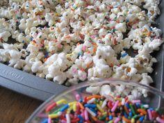Birthday Cake Batter Popcorn: popcorn / white chocolate or almond bark / powdered cake mix / sprinkles