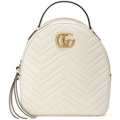 Gucci Gg Marmont Quilted Leather Backpack found on Polyvore featuring bags, backpacks, backpack, gucci, white, zipper bag, top handle bags, zip bag, chevron print backpack and double zip bag