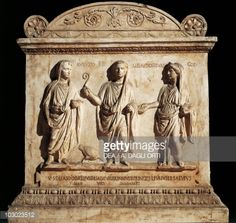 Stock Photo : Altar dedicated to Lares Augusti by Vicomagistri of Vicus Sandalarius, Copy from Uffizi Gallery in Florence