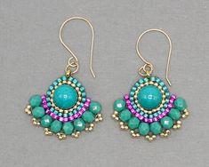 Turquoise Beaded Earrings, Colorful Fan Earrings, Seed Bead Jewelry Gift for Women, Bright Dangle Earrings, Seed Bead Earrings Seed Bead Jewelry, Seed Bead Earrings, Diy Earrings, Earrings Handmade, Beaded Jewelry, Handmade Jewelry, Beaded Necklace, Hoop Earrings, Silver Earrings