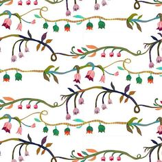 Rows of horizontal climbers #lily#pattern #illustration #monikaforsberg