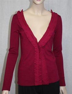 Grace Dane Lewis Burgundy Cardigan Sweater Size M
