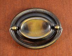 "Vintage KEELER BRASS Large Oval Hepplewhite Furniture Pull Holes 2 1/2""  #KeelerBrassCompany"