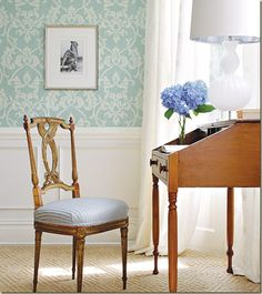 Turquoise and White Demask patterned wallpaper serves as a beautiful background for this writing desk and chair.