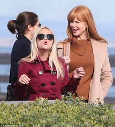 Playful: Shooting in Monterey, California, the 39-year-old actress maintained her typically sprightly demeanour as she joked incessantly with her fellow actresses