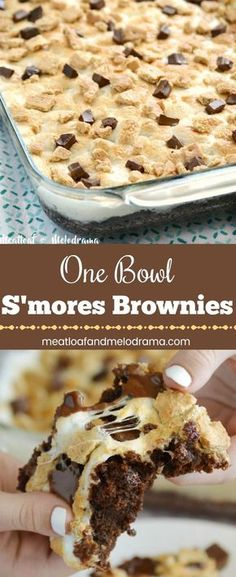 One Bowl S'mores Brownies - Fudgy brownies topped with marshmallows, graham crackers and more chocolate. It's an easy dessert that everyone loves! from meatloafandmelodrama