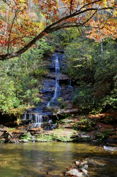 Toms Branch Falls in the Deep Creek section of the Great Smoky Mountains National Park near Bryson City, NC