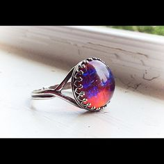 """Selling this """"Sterling silver dragons breath fire opal ring"""" in my Poshmark closet! My username is: lauren_briggs. #shopmycloset #poshmark #fashion #shopping #style #forsale #Nameless Creations #Jewelry"""