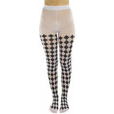 Black & White Jester Diamond Harlequin Tights ($18) ❤ liked on Polyvore featuring intimates, hosiery, tights, leg wear, leotard leggings, harlequin tights, patterned stockings, diamond tights, print stockings and diamond pattern tights