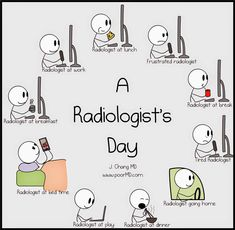 Here's a day in the life of a radiologist, illustrated. Mri Humor, Radiology Humor, Tech Humor, Radiology Student, Radiology Imaging, Medicine Humor, Radiologic Technology, Interventional Radiology, Dental Jokes