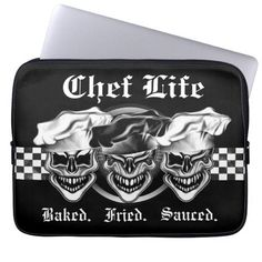 Add your name to this cool and funny chef skull laptop sleeve, featuring three rather happy skull chefs living up to their names: Baked, Fried, and Sauced. A black and white checkered panel through the center is removable. The background color may be changed to one of your choice, using Zazzle's customization tools. A cool and unique gift for anyone with a fierce passion for cooking. And skulls. Visit www.zazzle.com/thechefshoppe to see more cool skull chef designs and products.