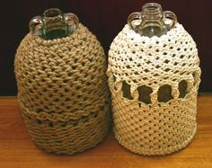 Cider bottles covered in macramed rope. Ive covered bottles like these but bigger.