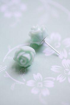 Mint Rose Earrings by WhiteLilyDesign