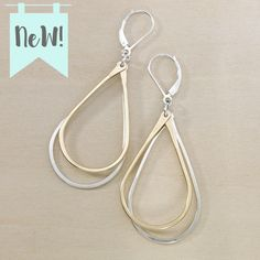 Mixed metal earrings in gold and silver by freshie and zero / minimal jewelry / teardrop earrings / handmade in nashville tn
