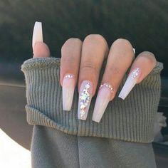 Nails, dope nails, rhinestone nails, prom nails, nails perfect na Aycrlic Nails, Glam Nails, Bling Nails, Beauty Nails, Bling Nail Art, Nails 2018, Gems On Nails, Jewel Nails, Cardi B Nails