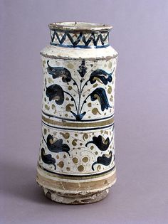 Pharmacy Jar Date: century Geography: Made in probably Manises, Valencia, Spain Culture: Spanish Medium: Earthenware, tin-glaze (lusterware) Dimensions: Overall: 11 x 5 in. Medieval Art, Renaissance Art, Earthenware, Stoneware, Spain History, Spain Culture, Spanish Tile, Classic Image, 15th Century