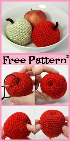 Mesmerizing Crochet an Amigurumi Rabbit Ideas. Lovely Crochet an Amigurumi Rabbit Ideas. Crochet Apple, Crochet Fruit, Crochet Food, Crochet Crafts, Easy Crochet, Crochet Flowers, Crochet Projects, Free Crochet, Knit Crochet