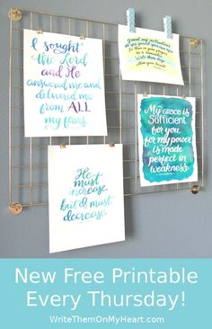 Display your free printables on this gold wall grid! And change them out anytime. New Free Bible Printable Every Thursday!