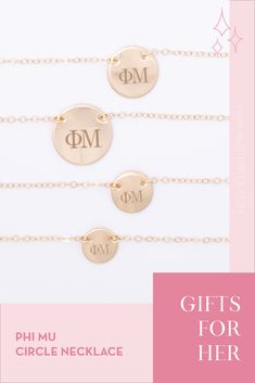 Sorority circle necklaces are the easiest gift for any celebration: Recruitment, Bid Day, Back to School & Big/Little. Spoil your new sorority girl with our simple and dainty Greek letter circle necklace! Phi Mu Gifts   Phi Mu Bid Day   Phi Mu Necklace   Phi Mu Jewelry   Sorority Bid Day   Sorority Recruitment   Sorority Jewelry Gifts   Sorority College Gift   Sorority New Member Gift Ideas   Dainty Jewelry   Simple Gold Necklace #SororityGifts #SororityJewelry