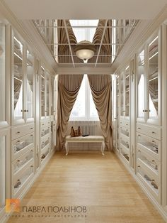 """Photo of the wardrobe room design from the project """"Interior design of a four-room apartment in a classic style, 204 sq. Walk In Closet Design, Bedroom Closet Design, Master Bedroom Closet, Closet Designs, Home Bedroom, Le Closet, Dressing Room Closet, Dressing Room Design, Luxury Homes Interior"""