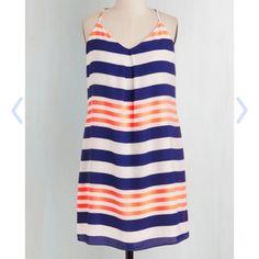 Size Large PinkOwl Neon Dress Cobalt Blue and Bright Peach knee length dress. ModCloth Dresses
