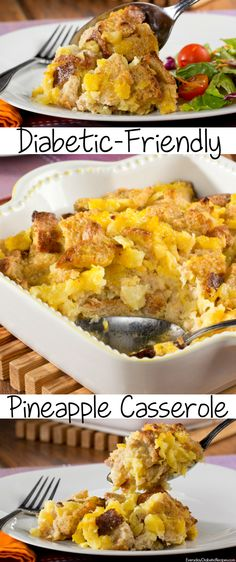 Pineapple casserole is a Southern favorite! We've lightened it up a bit, so that it's fit for a diabetic diet.