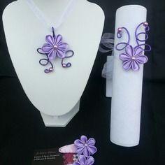 Parure enfant collier, bracelet et pince violet