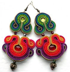 Soutache Earrings - Look at those colors!