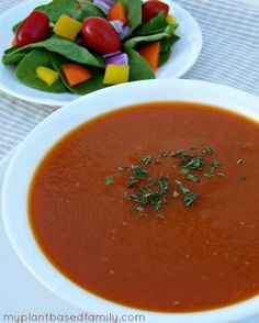 Creamy Tomato Soup: Never Eat Condensed Soup Again! This soup is #vegan, #glutenfree, and #sodiumfree! Only 5 ingredients and doesn't require the stove. Make it easily in the Crock-Pot!