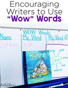 These four practical and easy to implement tips will help you encourage your students to include wow words in their writing, making them stronger writers. Teaching Poetry, Teaching Writing, Writing Activities, Teaching Ideas, Literacy Games, Kindergarten Writing, Teacher Resources, Writing Traits, Writing Strategies