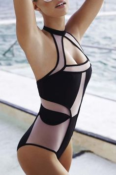 Voile Spliced Hollow Halter One-Piece Swimwear: Swimwear | ZAFUL