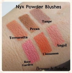 Baroque In Babylon: Swatches of 11 Nyx Powder Blushes: Look at Taupe, Angel, Spice, and Many More! Drugstore Makeup Dupes, Nyx Makeup, Makeup Blush, Makeup 101, Makeup Products, Beauty Makeup, Nyx Swatches, Makeup Swatches, Beauty Ideas
