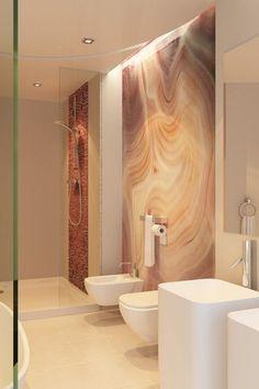 Contemporary Master Bathroom with Pedestal sink, limestone tile floors, Handheld showerhead, Bidet, Master bathroom