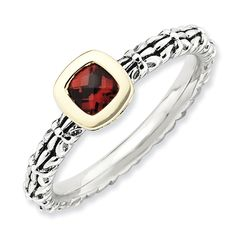 Sterling Silver & 14k Stackable Expressions Checker-cut Garnet Antiqued Rin