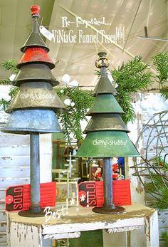 Christmas tree idea - repurpose metal funnels into a  vintage Christmas tree