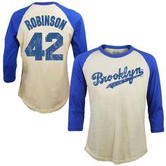 1fd10a6a998 Men s Brooklyn Dodgers Jackie Robinson Majestic Threads Cream Softhand  Cotton Cooperstown 3 4-Sleeve Raglan T-Shirt